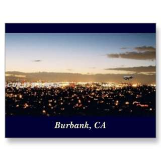 Burbank Nightscape, Burbank, CA Post Cards from Zazzle
