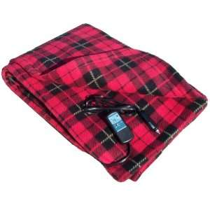 Heated Fleece Travel Electric Blanket   12 Volt   Red