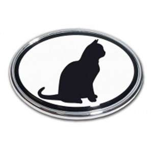 Sitting Cat Oval Black/White Chrome Auto Emblem Automotive
