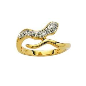 Ladies 18K Gold Plated Clear Cubic Zirconia Two Color