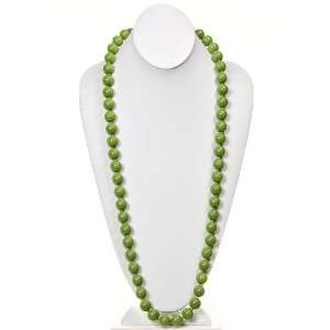 Fashion Jewelry ~ Green Glass Pearl Necklace 54 Inch