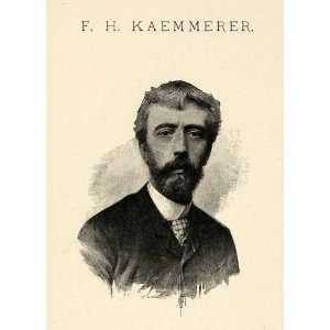 1899 Print Frederick Hendrik Kaemmerer Self Portrait Portraiture Dutch