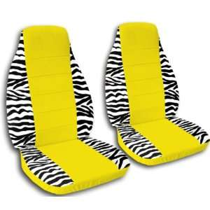 2 white and black zebra car seat covers with a yellow