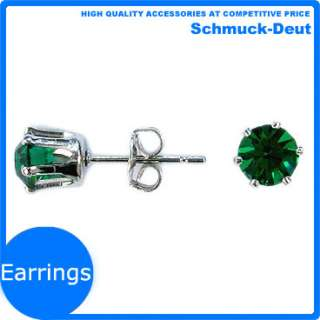 FASHION JEWELRY ROUND CUT GREEN EMERALD 18K WHITE GOLD PLATED GP STUD