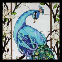 Enchanted Garden Peacock Cat Butterfly Bird Vineyard items in Stained