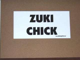 Zuki Chick Funny Bumper Sticker / Offroad Decal 4x4
