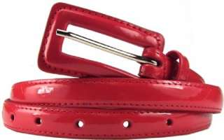 Thin Red Women Patent Leather Belt Brand New