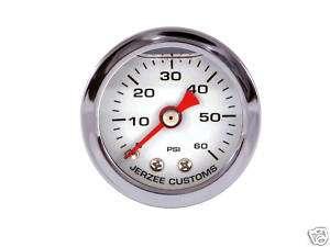 Liquid Filled Oil Pressure Gauge 0 60 psi   WHITE face  Harley