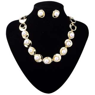 Fashion Jewelry Set,AA Simulated Pearl Frontal Necklace Earring