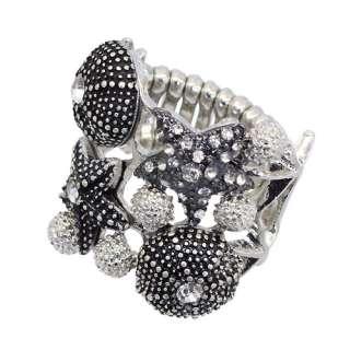 Ocean Seashell Starfish Rhinestone Crystal Stretch Ring