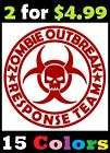 Zombie Outbreak Response Team Vinyl Sticker Decals