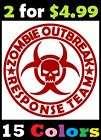 Zombie Outbreak Response Team Vinyl Sticker Decals