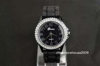 Girls Ladies Women Gift Black Fashion Silicone Jelly Quartz Wrist