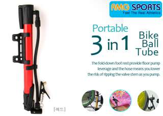 3in1 PORTABLE BICYCLE BIKE MINI PUMP TUBE/BALL/TIRE RED
