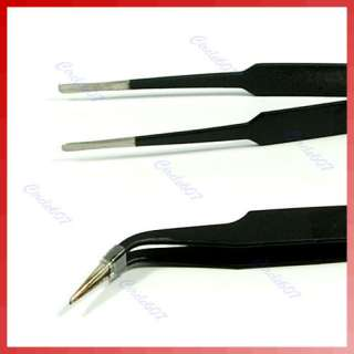 Nail Art Watch Craft Curved Straight Tweezers Tool