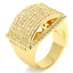 Yellow Gold Plated Convex Shape Dome Hip Hop Style Ring