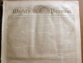 1845 New Orleans LOUISIANA newspaper TEXAS ANNEXATION Andrew Jackson