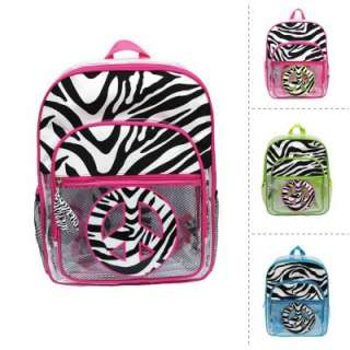 CLEAR ZEBRA PRINT PEACE SIGN BACKPACK BOOK BAG