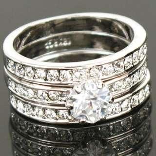 White Gold GP Swarovski Crystal Wedding Band Ring 1039