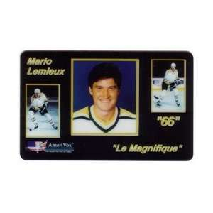 Collectible Phone Card: Mario Lemieux Le Magnifique Close up Photo