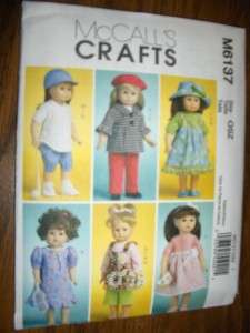 18 Doll American Girl Long/Short Sleeved Coats Hats New McCalls 6137