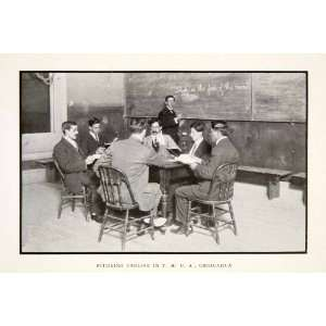 1913 Print Men Study Exam Students YMCA Chihuahua Mexico Table Chair