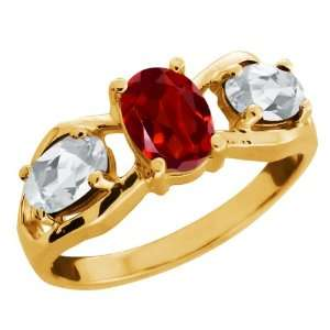 2.00 Ct Oval Red Garnet and Topaz Gold Plated Sterling