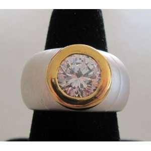 Fashion Ladies Or Mans Band RING w Large Round Cubic Zirconia Stone
