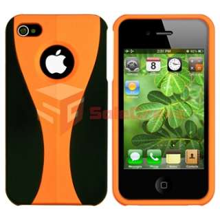 For iPhone 4 G S Verizon AT&T Orange Hard+Smoke TPU Cup Shape Diamond