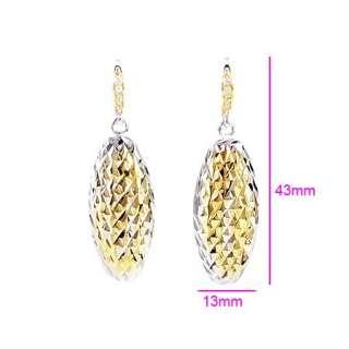 1MM*10P Cut Zirconia Unique 9K Yellow&White Gold Filled Earrings E153