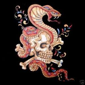 SKULL CROSSED BONES COBRA SNAKE TATTOO ART T SHIRT WS18