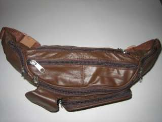 NEW BROWN LEATHER WAIST BELT FANNY PACK POUCH PURSE LG