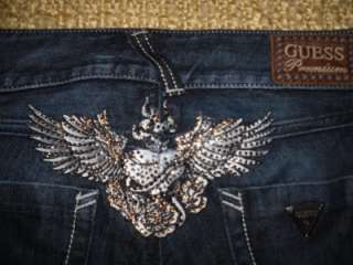 Premium Angel wings crystals roses dark low rise Skinny Jeans EUC 26