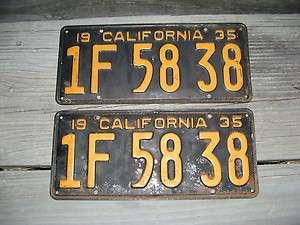 1935 35 CALIFORNIA CA LICENSE PLATE PAIR YOM DMV CLEAR