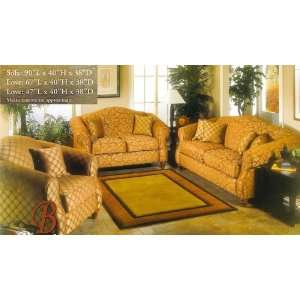 3PC Daisy Traditional Style Red Fabric Sofa Couch Loveseat