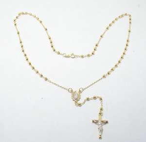 Cut Faceted Rosary Rosario Chain Necklace 14K Yellow White Gold