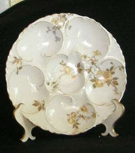 Haviland Limoges OYSTER PLATE Yellow and blue Flowers