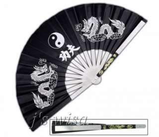 BLACK WHITE DRAGON YIN YANG KUNG FU FAN CHINESE TAI CHI WEAPON STEEL
