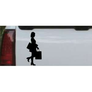 Girl Shopping Silhouettes Car Window Wall Laptop Decal