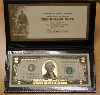 24K GOLD $2 BILL FEDERAL RESERVE NOTE