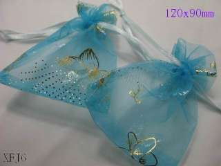 50pcs LARGE SIZE Butterfly Organza wedding favor gift pouch bags 3.5
