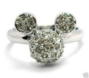 Disney Mickey Mouse Head Multi Clear Crystal ring