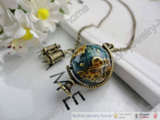 Fashion retro bronze globe telescope charm necklace