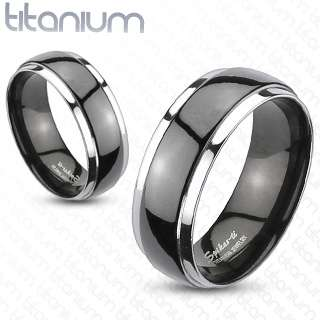 Ti Titanium Domed 2 Tone Grooved Black Stripe Wedding Band Ring Size 5