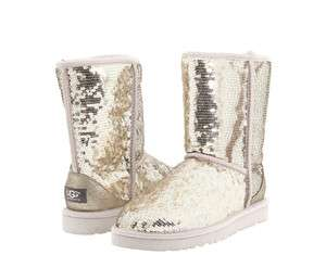 Classic Short Sparkles Sequined Silver Womens Winter Boots 3161