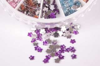 1200 FLOWER SHAPE NAIL ART RHINESTONE MIX WHEEL DECORATION GLITTERS