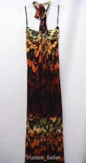NWT SKY Brand 100% Silk Jersey Peacock Print Halter Long Maxi Dress M