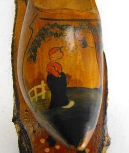 VINTAGE Holland wood Clog Souvenir Dutch Wooden Shoe