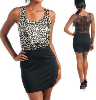 NEW WOMEN CLOTHING ANIMAL PRINT LEOPARD SEE THRU SLEEVELESS MINI DRESS