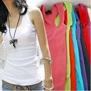 Women Ladies Sleeveless Garment Tank Top Camisole Ribbed T Shirt Vest